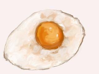 Fried egg digital painting in tablet