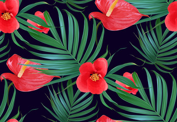 Vector Tropical flowers and palm leaves seamless pattern. Floral exotic Hawaiian background. Blooming elements.Jungle plants. Ideal for fabric,wallpaper,wrapping paper, textile, bedding,t-shirt print.
