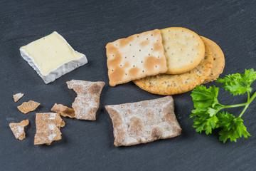 Dry cracker cookies with black background