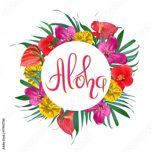 Aloha lettering vector frame with exotic flowers and palm leaves aloha lettering vector frame with exotic flowers and palm leaves tropical summer design m4hsunfo