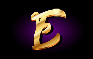 e alphabet letter golden 3d logo icon design