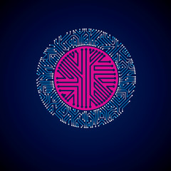 Vector abstract luminescent technology illustration, round blue neon circuit board. High tech circular digital scheme of electronic device.