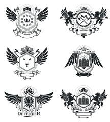 Vintage heraldry design templates, vector emblems. Collection of symbols in vintage style.