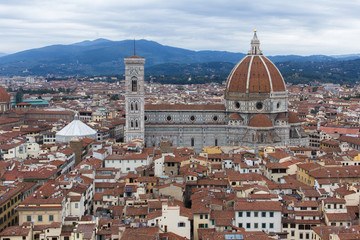 Panorama of the city historical center with Cathedral of Saint Mary of the Flowers (Cattedrale di Santa Maria del Fiore), UNESCO World Heritage site. Florence, Tuscany, Italy. A top view.