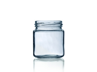 empty glass jar with reflection isolated on white