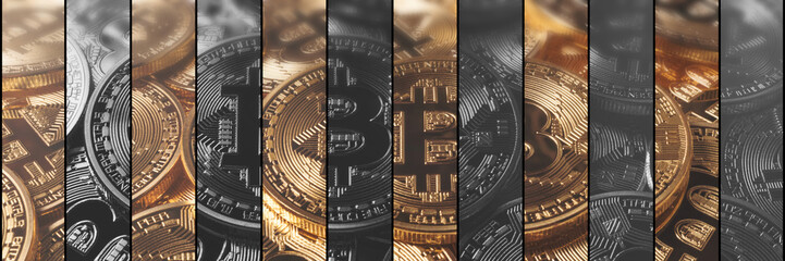 Cryptocurrency Concept finance and technology concept. Bitcoin, Ethereum, Banner.