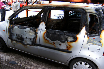 road traffic collision, car fire and destruction