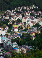 Karlovy Vary, Czech Republic. An aerial top view to the center of the city.