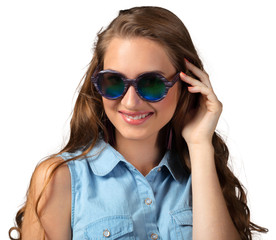 woman in summer sunglasses with long curly  hair