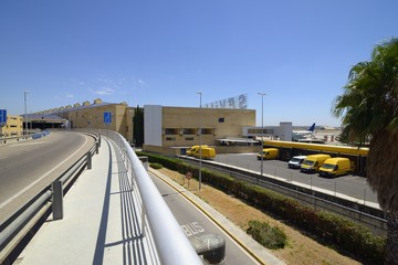 Exterior view of the Terminal of Seville Airport, Andalusia, Spain