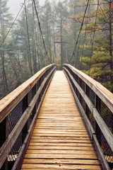 Suspension Bridge over Tallulah Gorge in Blue Ridge Mountains