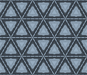 Geometric Hipster Triangle Seamless Pattern. Vector illustration. For design, wallpaper, print. Blue color