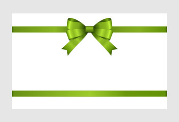 Gift Card With Green Ribbon And A Bow  on white background.  Gift Voucher Template with  place for text.  Invitation - vector image.