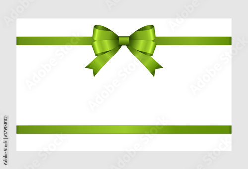Gift Card With Green Ribbon And A Bow On White Background Gift