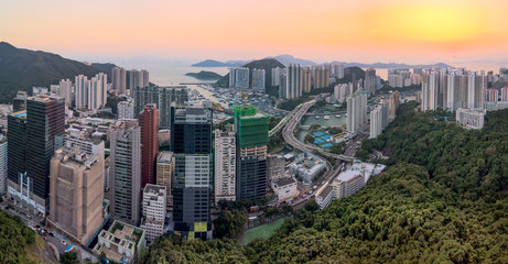 Aerial View of a Stunning Sunset over Aberdeen Typhoon Shelter and and Ap Lei Chau district of Hong Kong