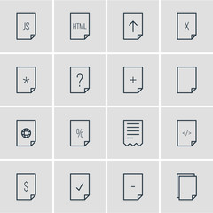 Vector Illustration Of 16 Page Icons. Editable Pack Of HTML, Download, Folder And Other Elements.