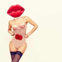 Contemporary art collage. Sensual lips Lady and beautiful underwear. Minimal design