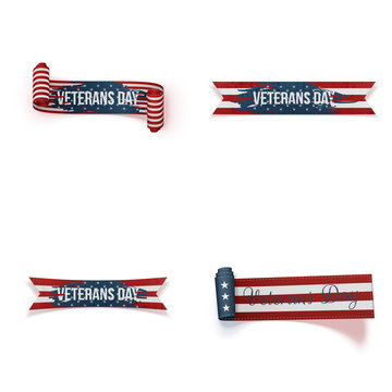 Veterans Day curved Ribbons Set