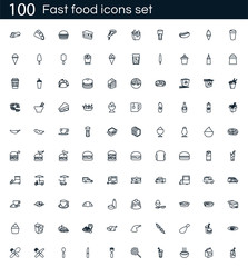 Fast food icon set with 100 vector pictograms. Simple outline restaurant icons isolated on a white background. Good for apps and web sites.