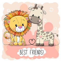 Cute Lion and Giraffel on a pink background
