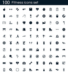 Fitness icon set with 100 vector pictograms. Simple filled gym icons isolated on a white background. Good for apps and web sites.