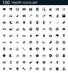 Health icon set with 100 vector pictograms. Simple filled medical icons isolated on a white background. Good for apps and web sites.