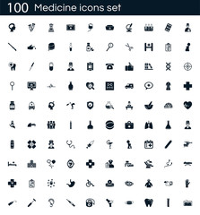 Medicine icon set with 100 vector pictograms. Simple filled medical icons isolated on a white background. Good for apps and web sites.
