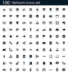 Network icon set with 100 vector pictograms. Simple filled icons isolated on a white background. Good for apps and web sites.