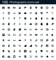 Photography icon set with 100 vector pictograms. Simple filled camera icons isolated on a white background. Good for apps and web sites.
