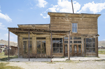 Old wooden buildings in the Mono County landscape