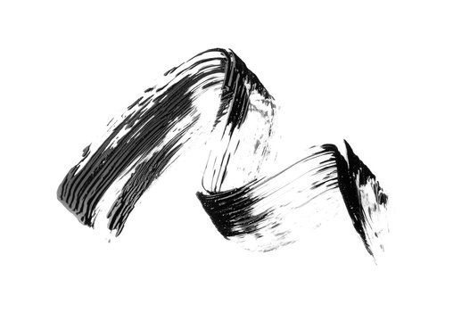 Black mascara brush stroke, isolated on white