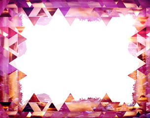 Beautiful aztec vector frame. Modern design in geometric shapes, triangles pattern on white background. Shades: vibrant bright yellow, purple, violet, liliac, brown.