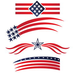 USA flags logo. Set collection