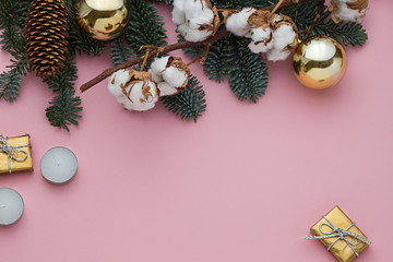 Pink Christmas, New Year concept frame. Copy space