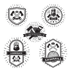 Badges with elements of a lumberjack and sawmill isolated on white . Vector .