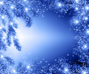 Christmas tree branches and space for text. Realistic fir-tree border