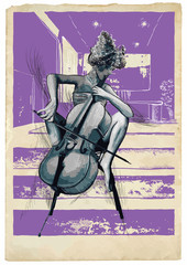 Music, Musician picture. Young woman - Chello player. An hand drawn illustration, vector