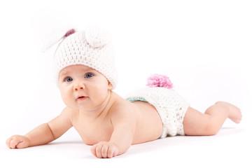 pretty baby little boy in rabbit costume