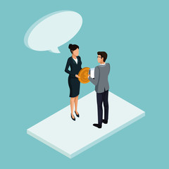 Isometric business avatars icon vector illustration graphic design