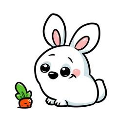White rabbit carrot cartoon illustration isolated image