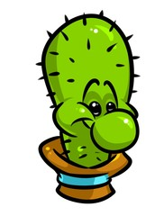 Cactus character smile cartoon illustration isolated image