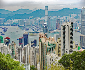 View from Victoria Peak of the skyline of Hong Kong and Victoria Harbour