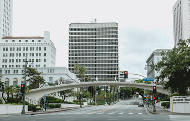 Downtown and the City Hall of Los Angeles. Main Street in the early morning Fototapete