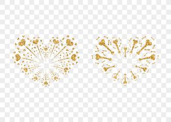 Heart fireworks gold set. Beautiful flat golden firework isolated on transparent background. Bright decoration design Valentine day, romantic love card, wedding celebration Vector illustration