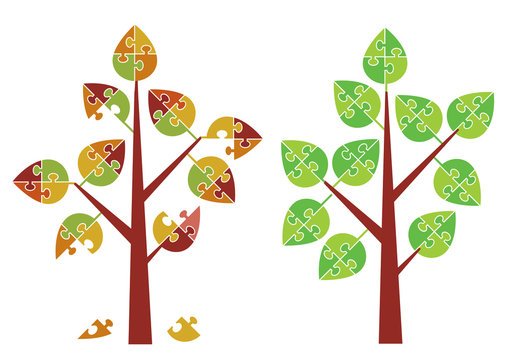 Puzzle trees spring autumn. Stylized trees with puzzle leafs. Vector available.