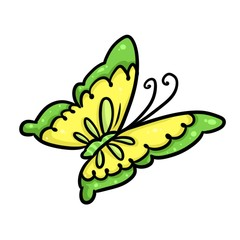 Yellow Butterfly cartoon illustration isolated image