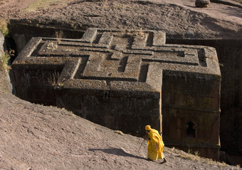 The Church of Saint George, one of many churches hewn into the rocky hills of Lalibela