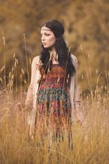 bohemian girl in summer setting