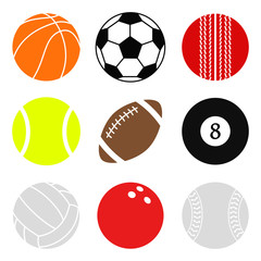Sports balls vector set. Cartoon ball icons. Collection of cut balls. Flat style.