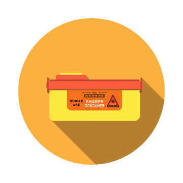 Vector isolated icon of sharps container with detachable lid and sticker with biohazard sign on the orange background with shadow.